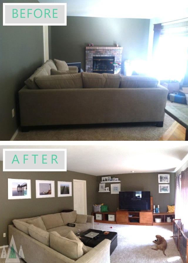 living room before + after
