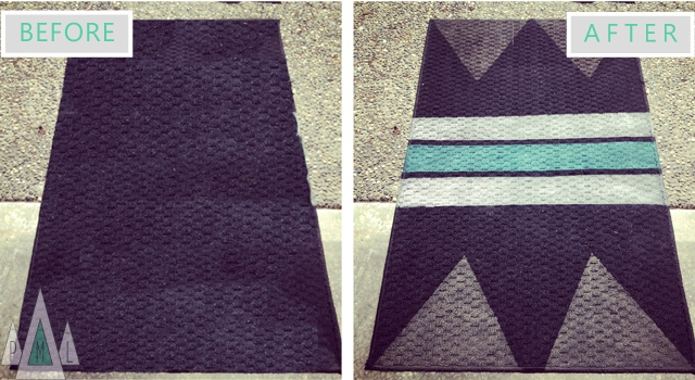 geometric rug before + after