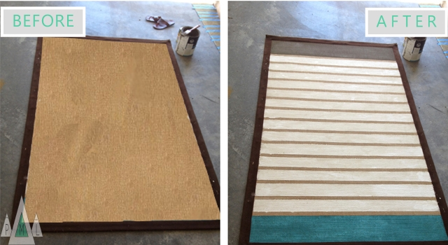 striped rug before + after