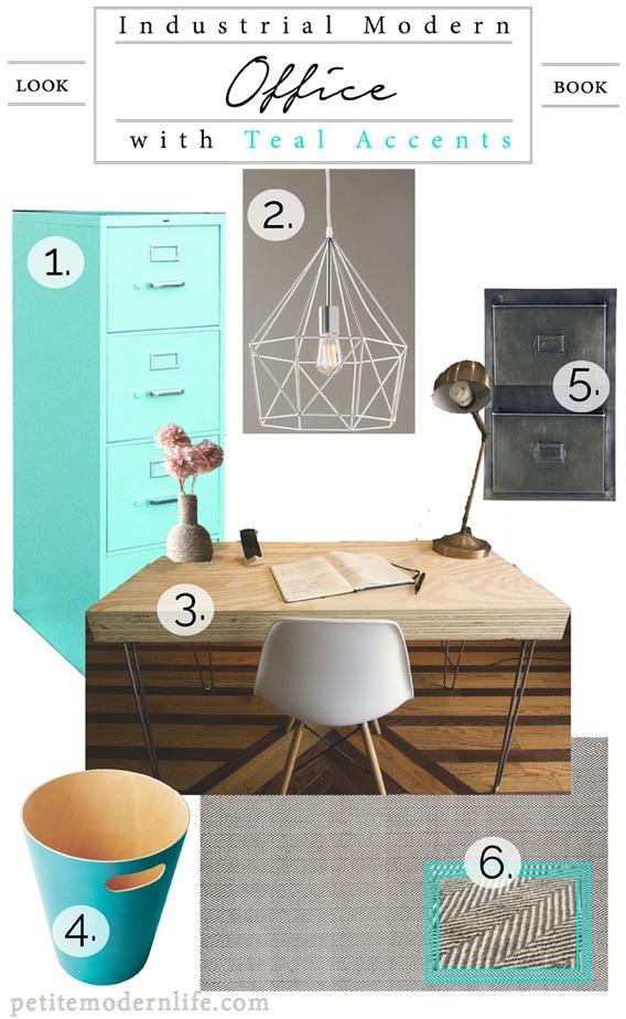 Industrial Modern Office Style Teal Petite Modern Life