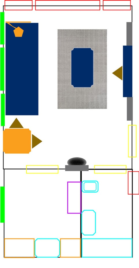 Option #1 with dining table next to couch and small shelf and mirror between kitchen and bathroom doors.