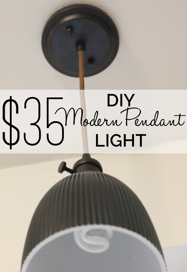 A $35 dollar DIY pendant light that is beautifully modern and can be done in all colors!