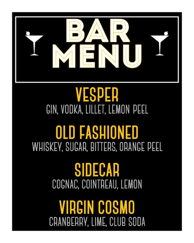 Bar Menu Free Printable for Your 1920s Party!