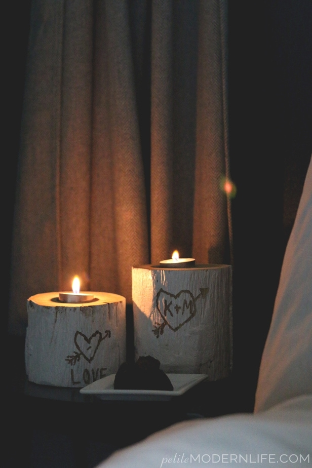 DIY Valentines Logs Candle Holder