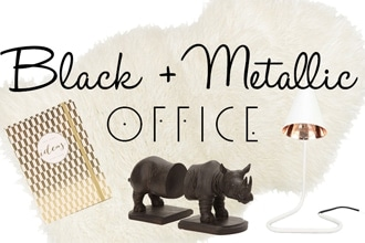 black and metallic office feature