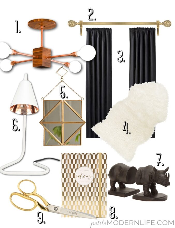 black and metallic office inspiration for you to buy + diy