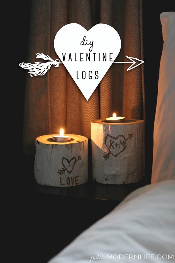 DIY Valentine Log Candle Holders