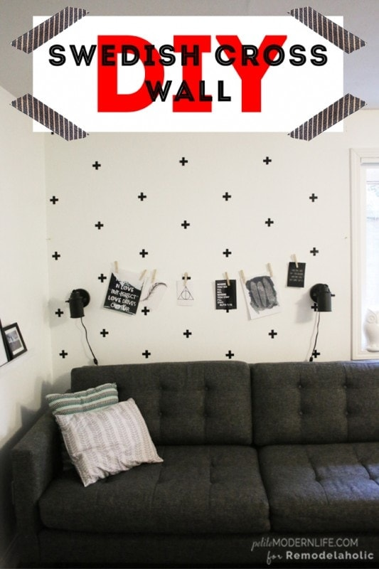 This DIY Swedish Cross Wall is a great idea for new wall decor that goes up + come off easy.