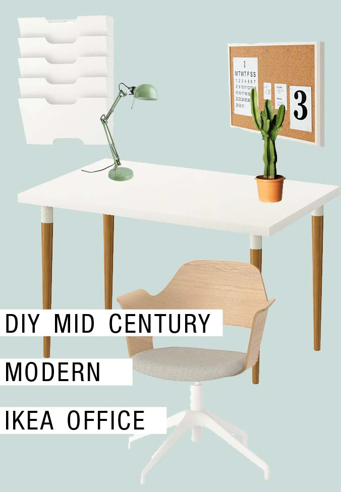 diy mid century modern ikea office