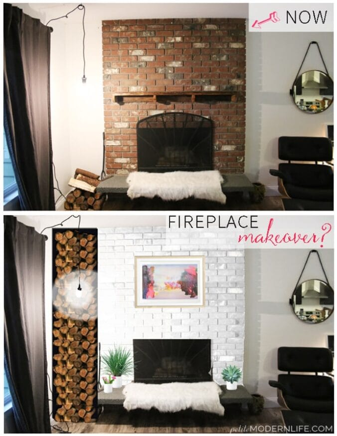 Fireplace makeover plans: Red to white on Petite Modern Life