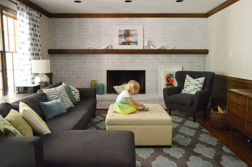 Young House Love Whitewash Fireplace