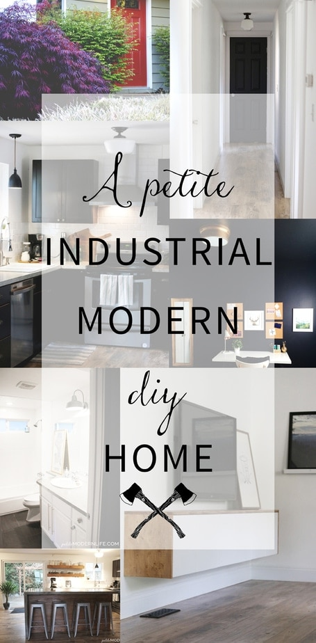 This 1600 sq. ft. home is neatly pulled together with beautiful industrial modern DIY projects. Love this functional minimal design that allows them to comfortably live small.