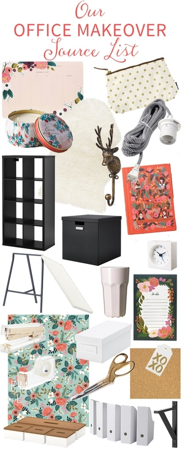 The complete source list for this beautiful modern office makeover. Love the accents!