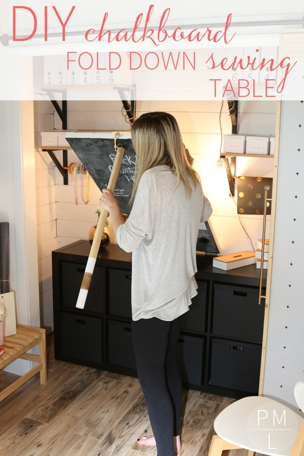 An Amazing DIY Fold Down Sewing Table That Doubles As A Cute Chalkboard!  Such A
