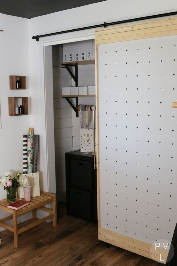 This DIY Sliding Fabric Door is a great idea if you want to save money on & DIY Fabric Sliding Door - Petite Modern Life