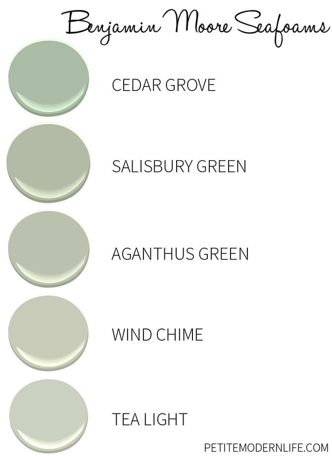 Favorite Benjamin Moore Seafoam colors.