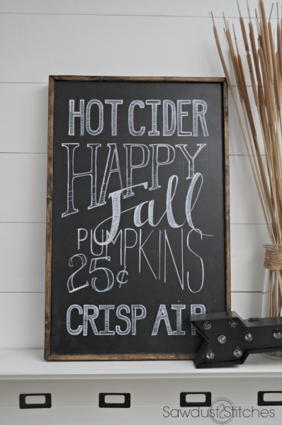 Sawdust and 2 Stiches Fall Chalkboard