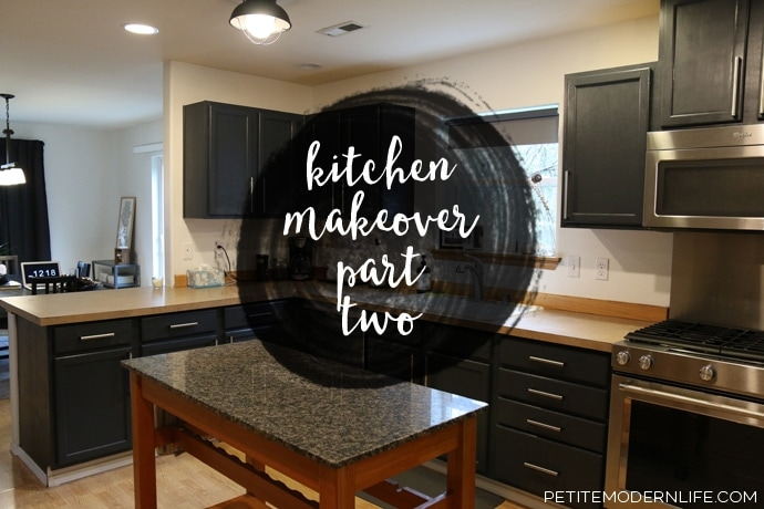 See what we learned of cleaning, priming and painting our kitchen cabinets in Part 2 of our Kitchen Makeover | Petite Modern Life