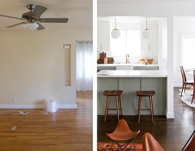 Kitchen before/after by Sarah Sherman Samuel of Smitten Studios