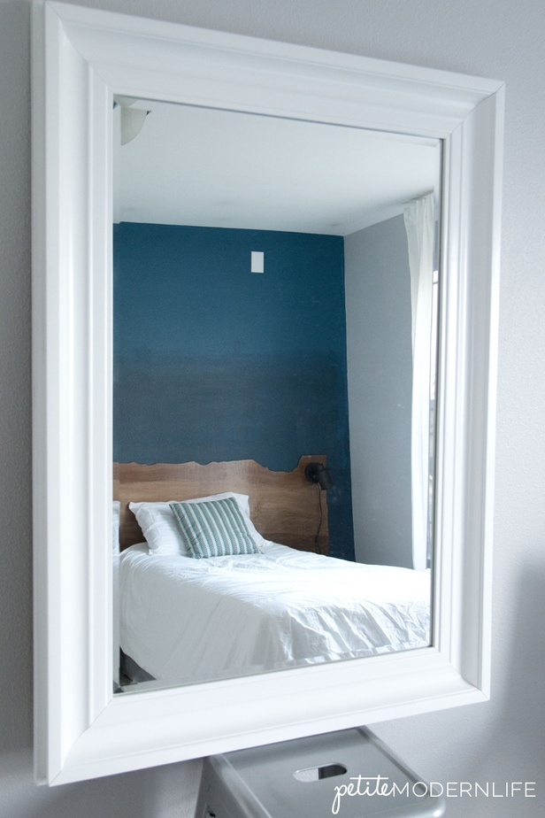 Gorgeous Guest Room Makeover with Ombre Wall and Live Edge Headboard   Petite Modern Life