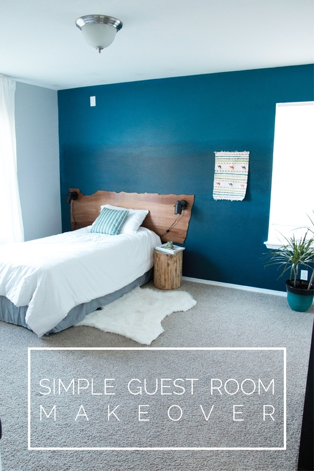 Gorgeous Guest Room Makeover with Ombre Wall and Live Edge Headboard | Petite Modern Life