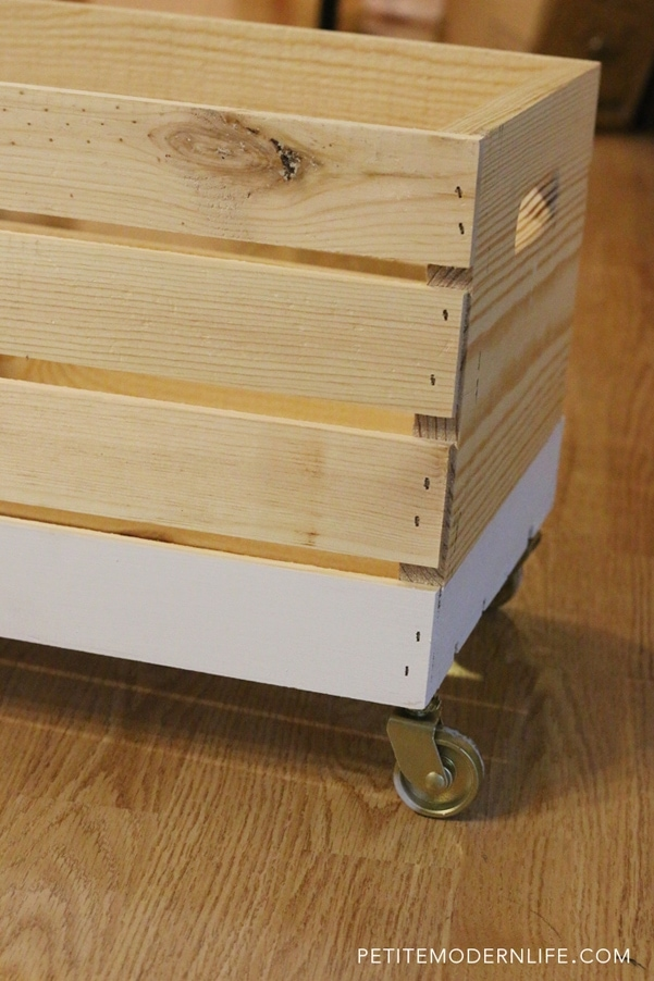 Modern storage crate makeover with wheels for under $30!