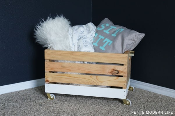 Modern storage crate makeover with wheels!