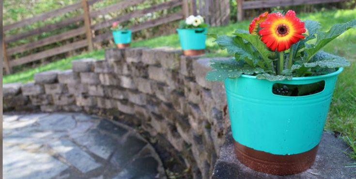 Copper dipped dollar store flower pots
