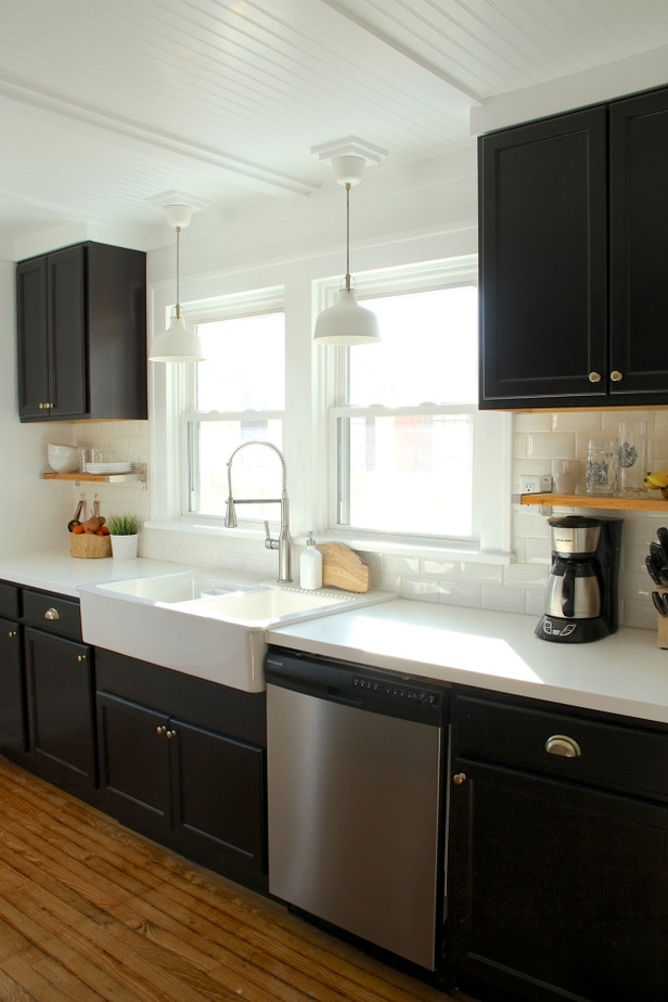 Benjamin moore black kitchen cabinet colors petite Black cabinet kitchens pictures
