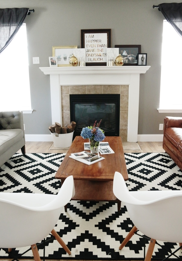 Living Room Makeover: A beautiful transformation of a difficult living room layout on Petite Modern Life