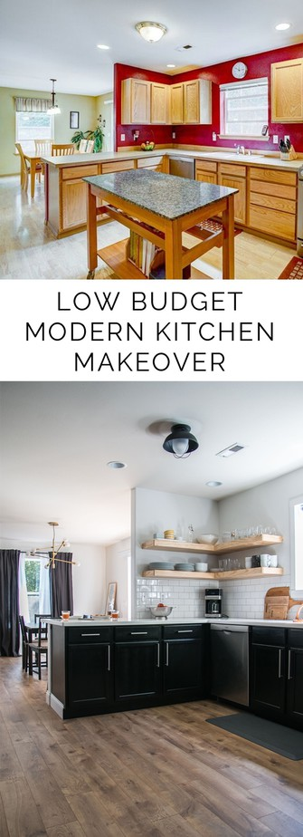 Gorgeous low budget modern kitchen makeover on Petite Modern Life