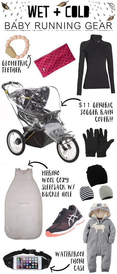 Wet and cold baby running gear that will keep you moving. Find all the links in the post!