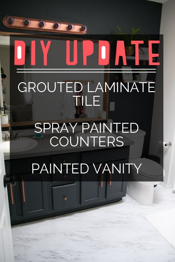 DIY Update on Grouted Laminate Tile, Spray Painted Counters and Painted Vanity | Petite Modern Life