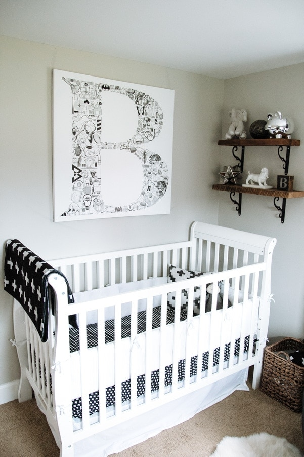 Black white gray modern nursery as part of Nursery Week on Petite Modern Life