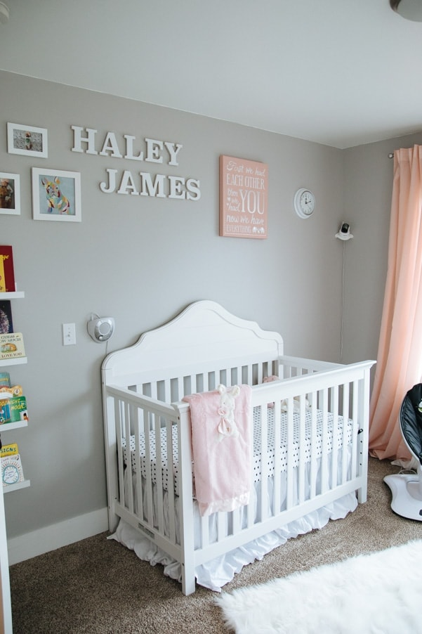 Coral and Gray Modern Nursery as part of Nursery Week on petitemodernlife.com