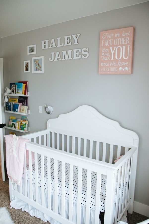 Coral and Gray Modern Nursery as part of Nursery Week on petitemodernlife.com