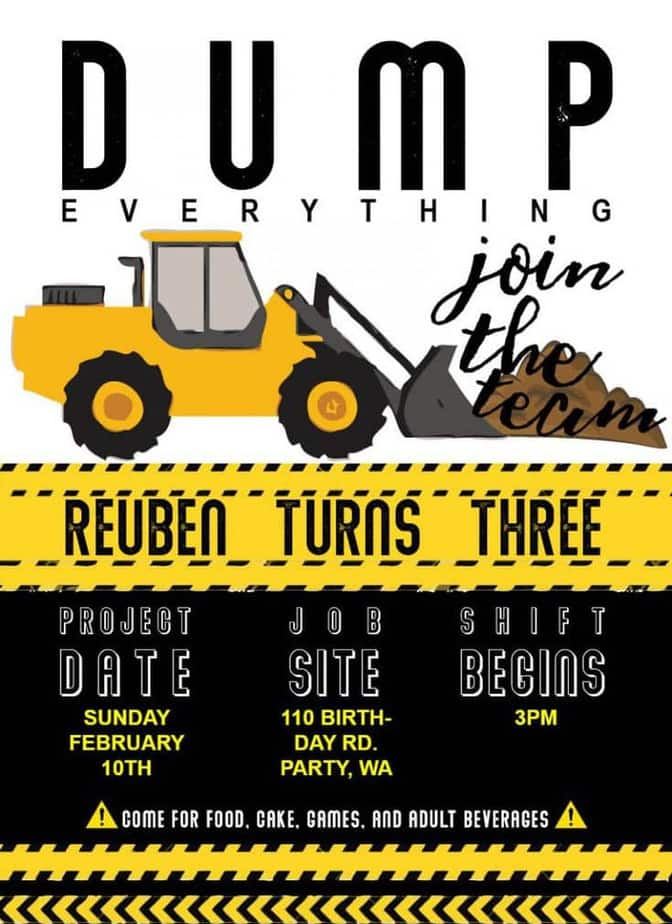 Construction Birthday Party Invite