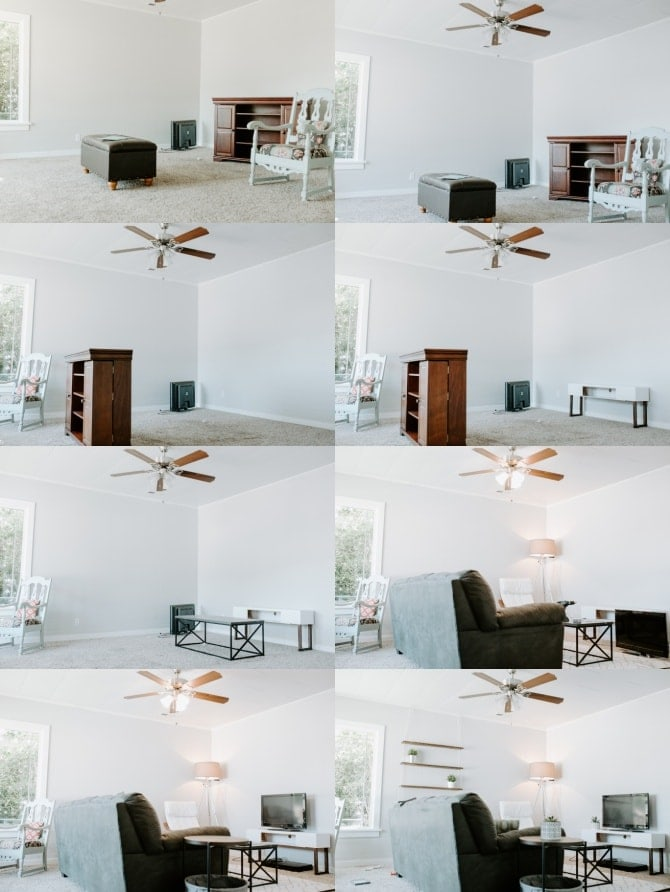 Budget Country Modern Living Room Makeover Pin process collage