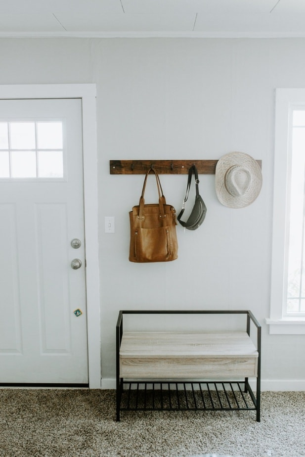 entry way shoe shelf and mounted coat rack