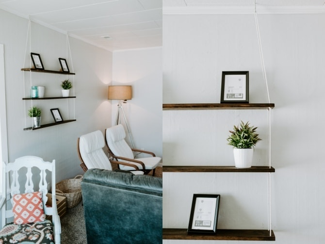 hanging rope shelf DIY with matching chairs and industrial lamp