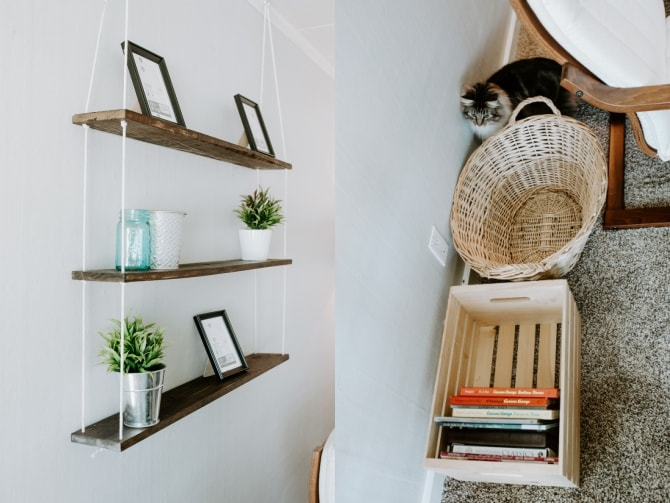 diy hanging rope shelf and organizing baskets