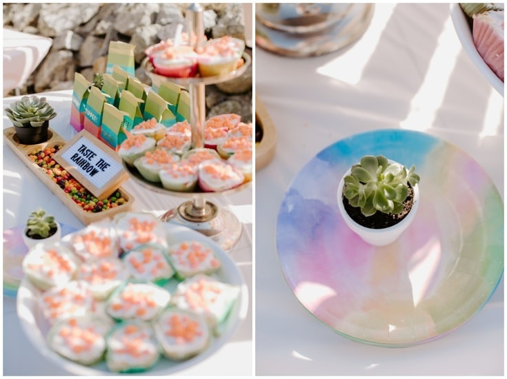 Rainbow birthday party ombre cupcakes and ombre rainbow party plates