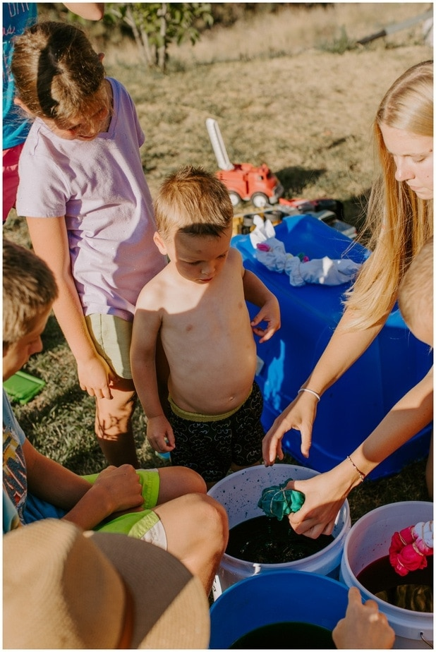 Rainbow birthday tie dye station for kids