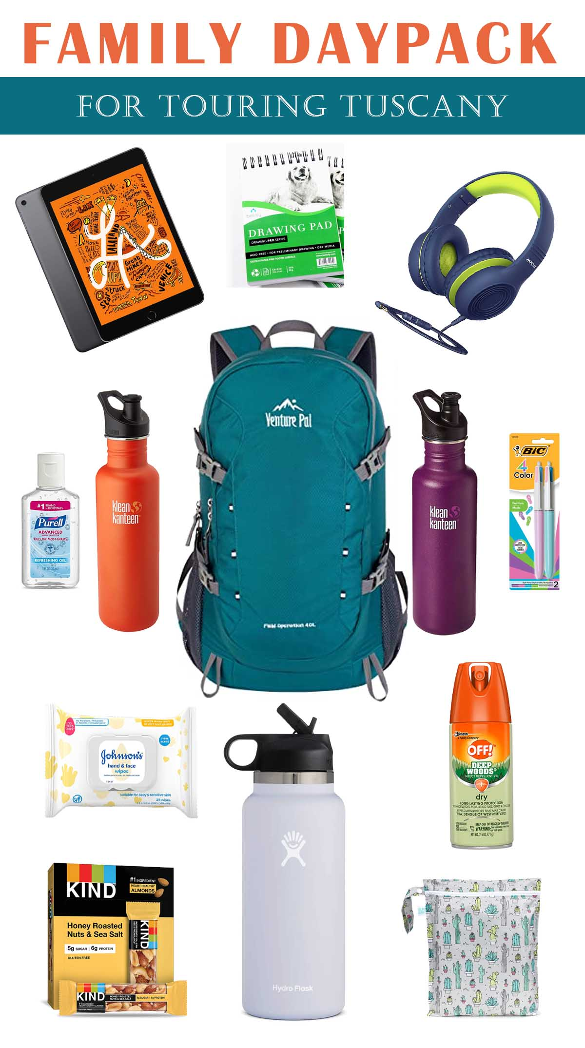 family daypack for tourin tuscany
