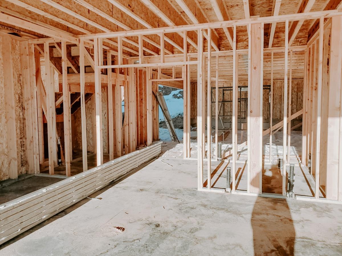 European Farmhouse Build view into framed mudroom