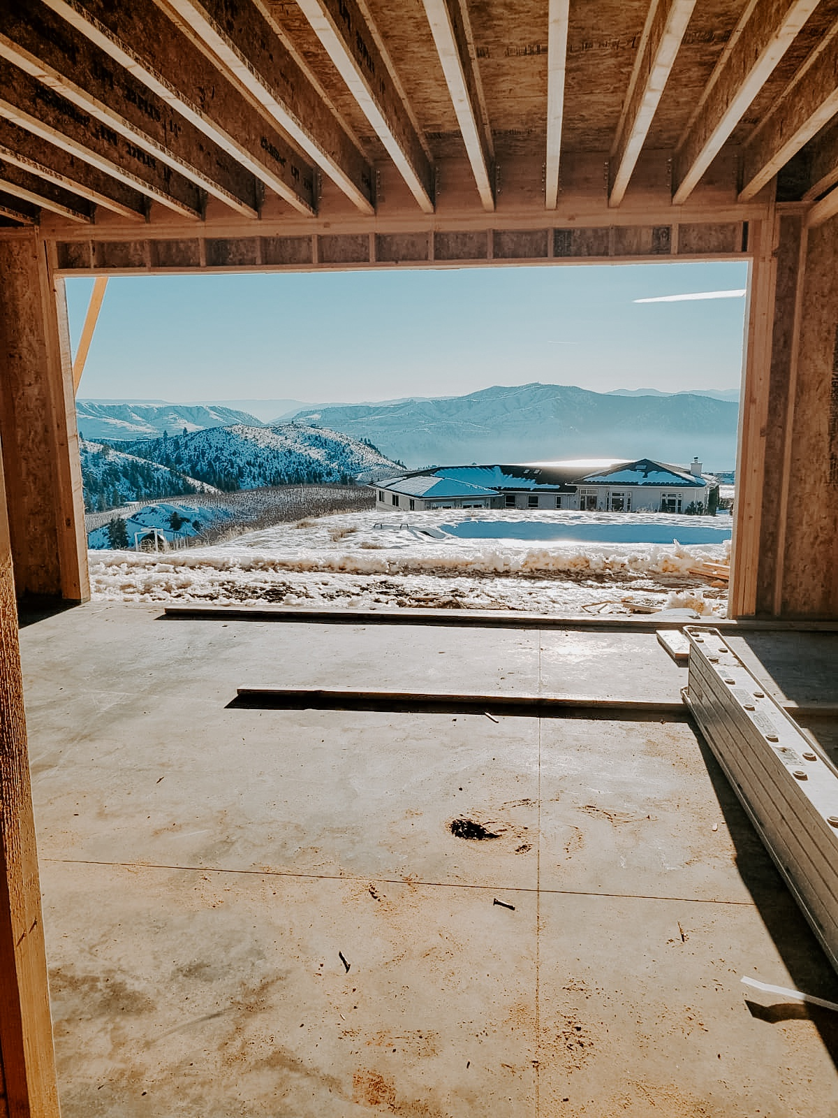 European Farmhouse looking out framed 16 foot sliding door opening