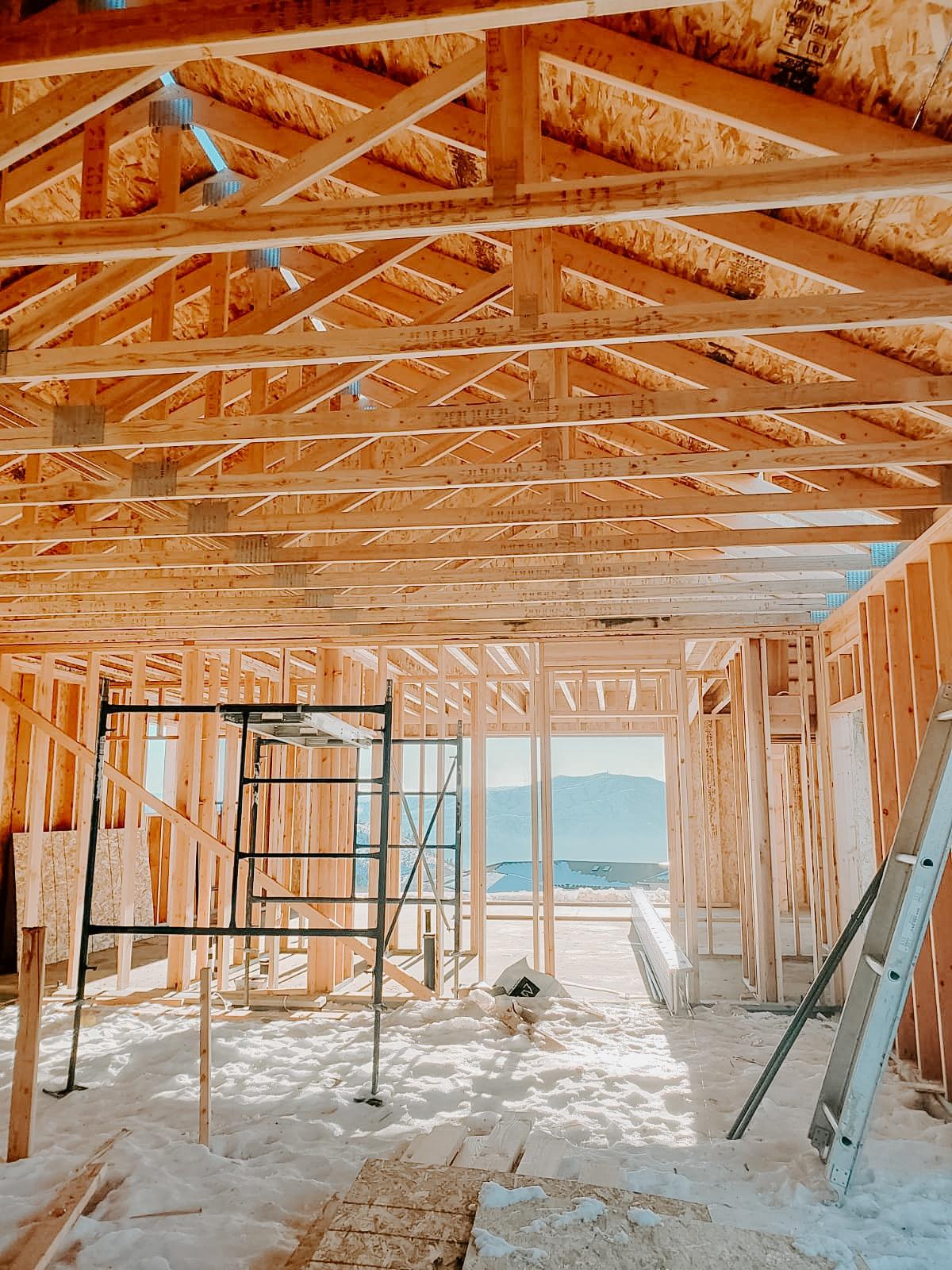 European Farmhouse garage framed looking towards mud room