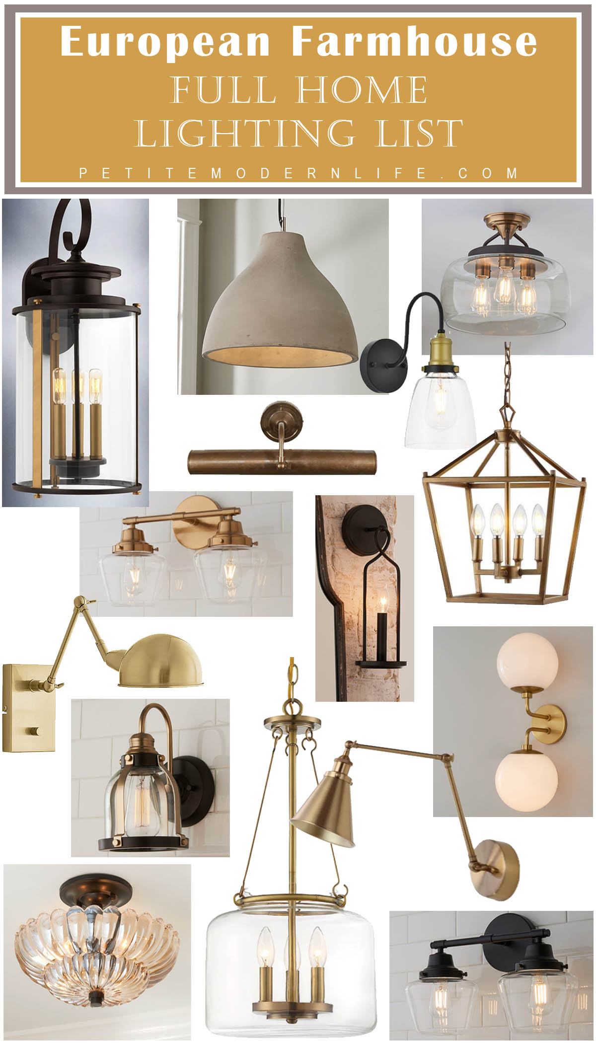 Our European Farmhouse Lighting List