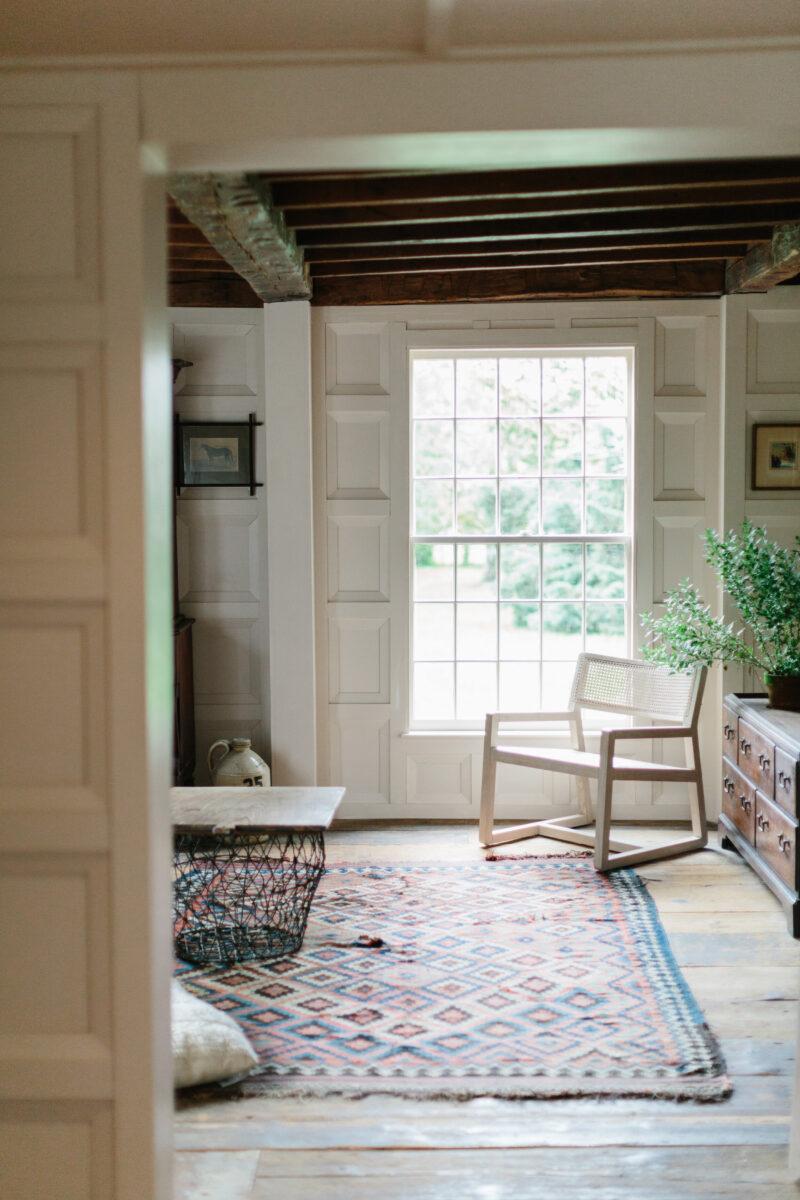 Moore House Design white old historic farmhouse living room