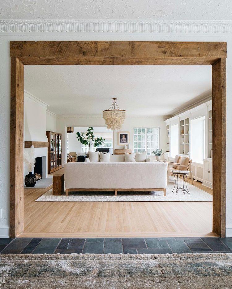 wood transom with wood floors